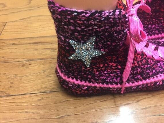 Crocheted converse high converse converse 8 tennis top crocheted Women slippers top sneaker slippers crochet 216 converse high 10 shoe pink rYrqzwdx1