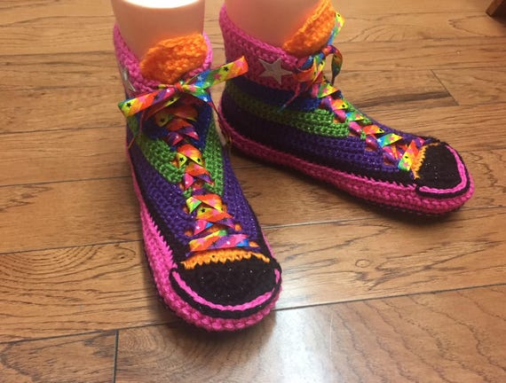 slippers 10 tops 8 Tennis Womens converse high rainbow converse crochet high Crocheted Slippers Sneaker shoes top 176 house Shoe converse UwTY4F