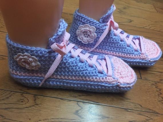 flower tennis sneaker Womens sneakers 6 lavender Crocheted crocheted sneakers slippers 8 slippers shoe slippers flower pink slippers List263 CfvwwdFqx