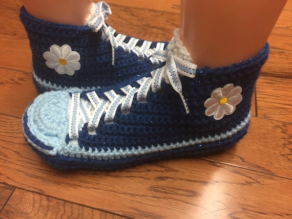 Womens Crocheted crocheted tennis shoes slippers sneakers sneaker flower sneakers slippers 8 blue shoes 10 crochet flower slippers tennis qA0ZqCrS