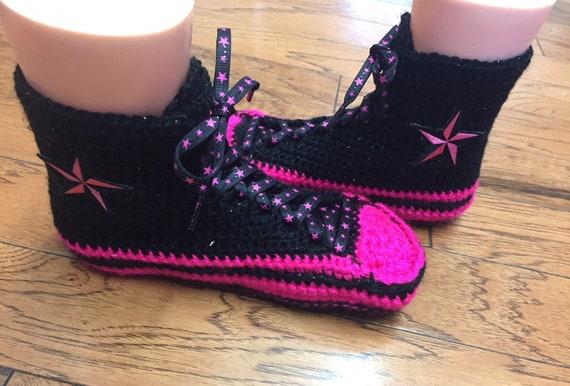 black converse black 264 crocheted sneaker shoe High top pink 7 slippers slippers pik slippers crocheted tennis converse 9 Womens converse zxnq6wqH