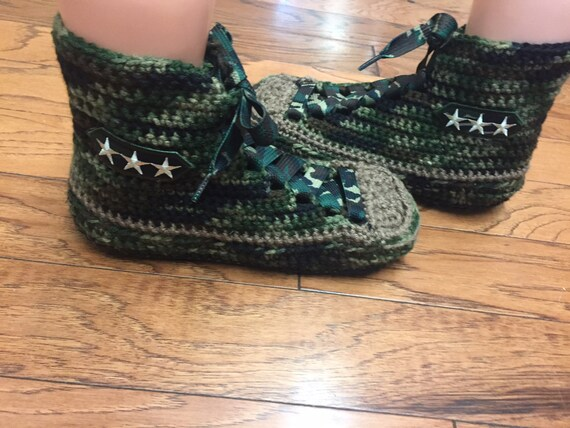slippers tennis 10 tops camo Womens tennis high camo shoes shoes camo camo shoes top slippers Crocheted camouflage 8 sneakers sneaker high ZwEZR0