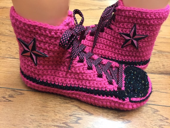 sneaker slippers tennis crocheted converse high pink crocheted Converse 317 top Womens converse inspired slippers converse shoe 8 bling 10 xqYg0g