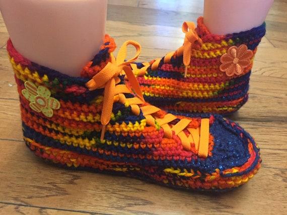 10 sneakers tennis sneakers rainbow 239 Womens slippers slippers slippers flower rainbow shoe daisy Crocheted crocheted slippers sneaker 8 gSnax0UzWz