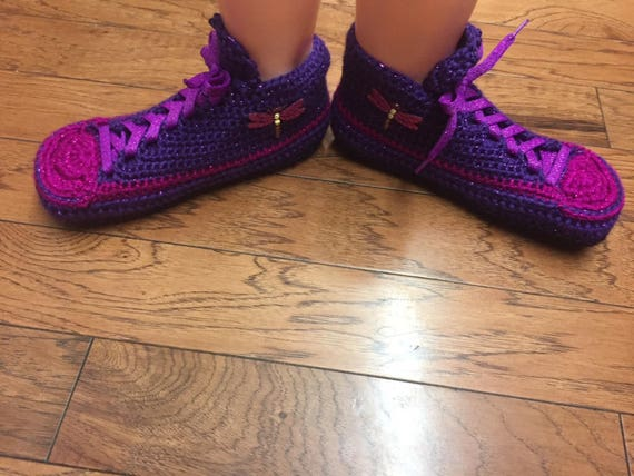 slippers Womens slippers slippers Listing purple slippers dragonfly dragonflies dragonfly tennis 7 9 shoes sneaker house Crocheted 162 shoe qOXtxUw7AF