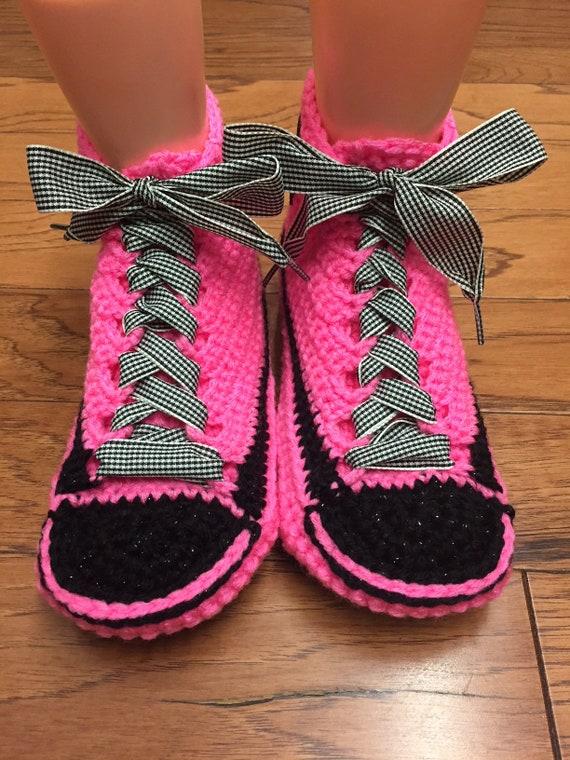 shoes slippers pink house Womens tennis 357 flower shoe sneakers shoes 7 slippers slippers flower 9 pink Crocheted crochet tennis sneaker RzxwWAPOq