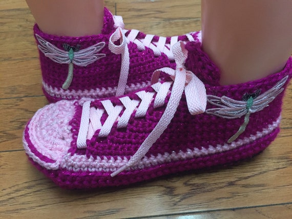 pink 7 dragonfly tennis Crocheted crocheted shoe shoes 9 278 sneaker Womens slippers slippers slippers dragonfly dragonfly sneakers Listing 6I6Ygwq