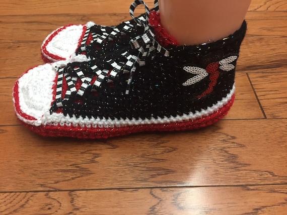 crochet chaussures de chaussons crochet tennis baskets sneaker baskets libellule libellule pantoufles Bonneterie chaussures tennis fwR6qnO