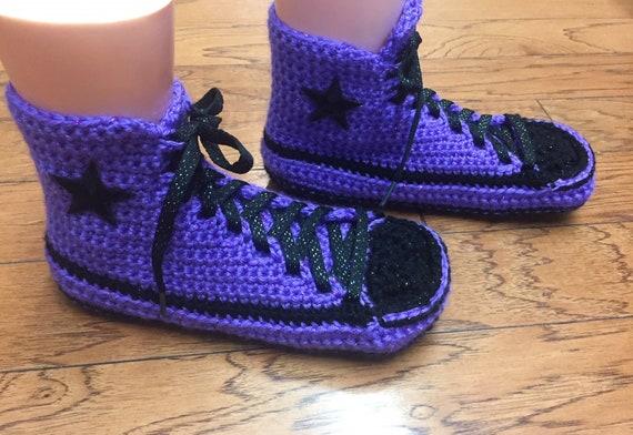 top crochet 7 slippers 256 purple high slippers Womens 9 converse sneaker slippers converse converse crocheted purple Crocheted shoe tennis BqAxwxna