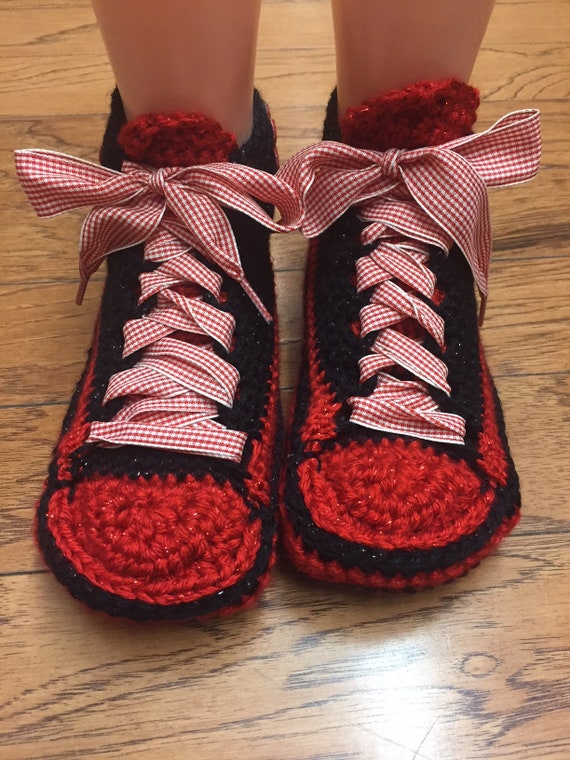 Crocheted List slippers sneakers 8 house 247 tennis shoes crocheted Womens slippers sneakers sneaker slippers 6 red flower shoe flower red rrPqXU