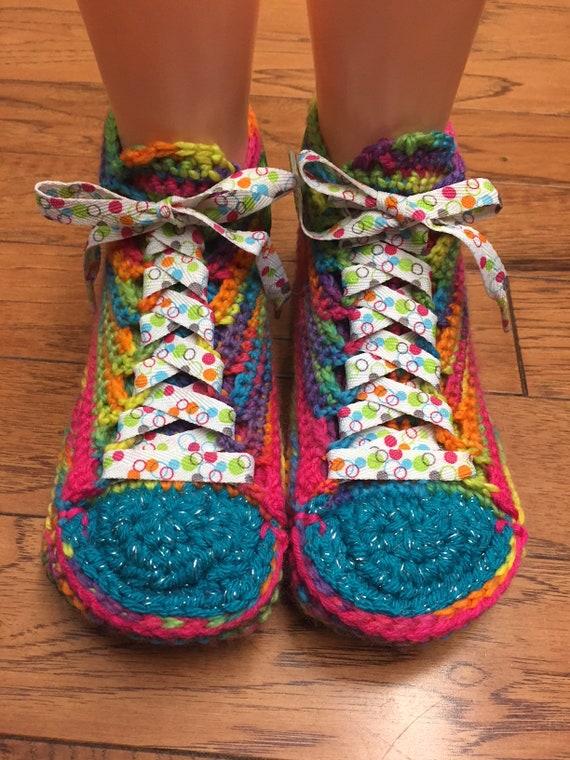 daisy Crocheted sneakers 7 rainbow tennis sneakers rainbow 9 slippers slippers slippers flower sneaker slippers 314 flower List shoe Womens 7g7qR