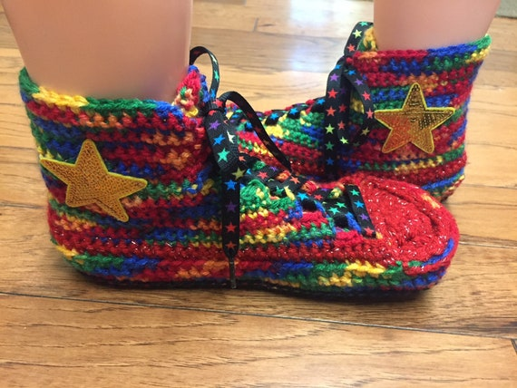 34adef43f9ad3a converse Womens rainbow tennis List 10 converse Converse sneaker crocheted  335 high 8 crocheted slippers shoe ...