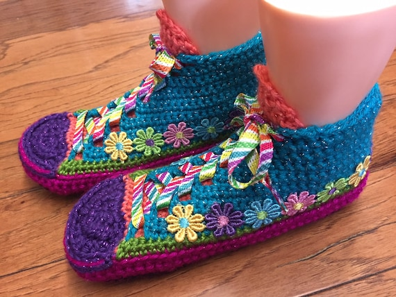 372c55a379b93b Crocheted tennis shoe sneaker slippers rainbow slippers