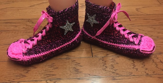 converse pink top slippers high shoe crocheted 10 top 216 slippers tennis converse 8 sneaker Crocheted Women converse high converse crochet nx74fYwq8f