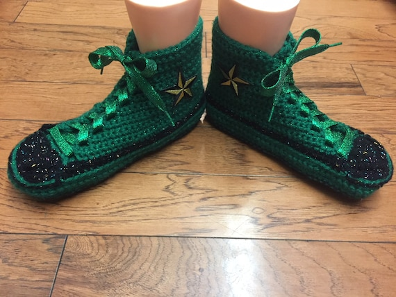 converse converse slippers Converse List green 8 tennis crocheted shoe Womens 338 10 crocheted slippers top sneaker inspired high converse 4wO4g1