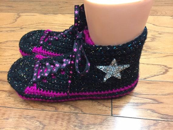 crochet high shoes slippers slippers top converse Converse converse 8 converse slippers top high 387 Womens bling 10 sneaker inspired tennis 548xqwvI8