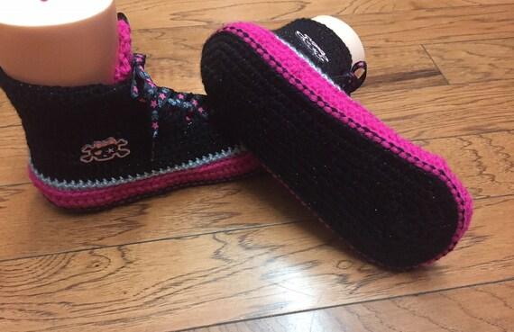 black sneaker slippers Listing 8 black pink skull sneakers Crocheted top Womens pink high 10 205 slippers skull skull shoe slippers tennis nzIOTqz