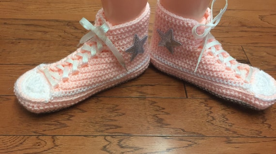 shoes converse Converse high 442 converse slippers bling 8 converse inspired crocheted 10 converse Womens sneaker peach top tennis slippers SqIRFq