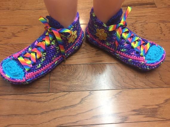 2d498392d1677c ... crocheted Sneaker 9 Womens Tennis Listing flower 177 shoes slippers  shoes tennis slippers Shoe house crochet ...
