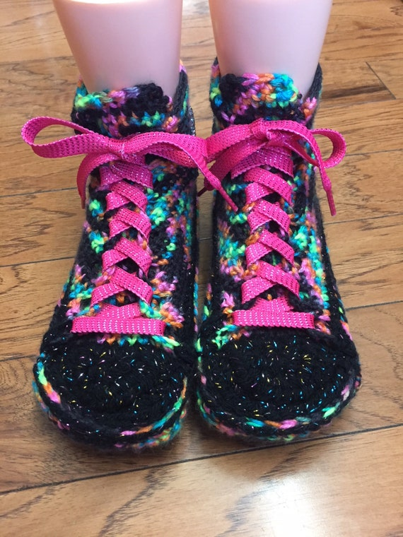 top slippers converse sneaker Womens slippers 301 converse List inspired rainbow 9 Crocheted 7 shoe converse slippers high rainbow tennis nf5PxgqX4g
