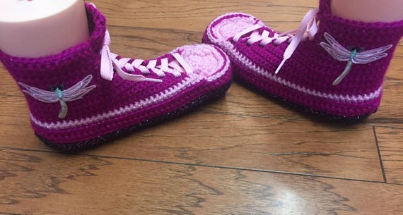 shoes 196 sneakers dragonfly dragonfly 10 Crocheted Slippers slippers slippers pink slippers 8 high Tennis top Shoe Womens house Sneaker wwfqx416