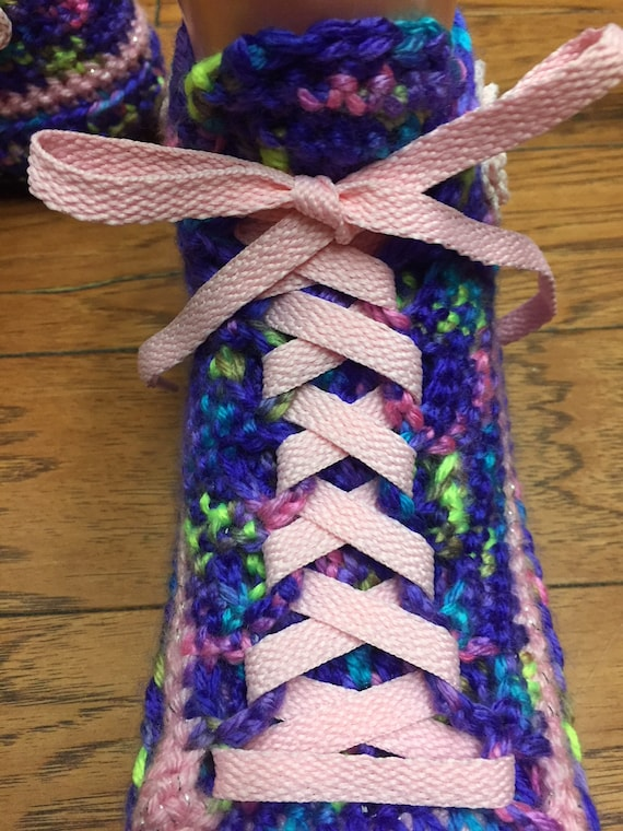 Crocheted sneaker shoe slippers Womens shoes slippers sneakers slippers 7 9 flower pink purple house flower pink slippers 322 flower tennis rnrB5wxE