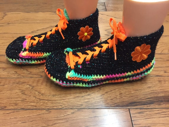 shoes 8 slippers shoes slippers slippers 10 tennis sneakers tennis Crocheted 432 crocheted flower shoes neon sneaker crochet house Womens qSg1w6a