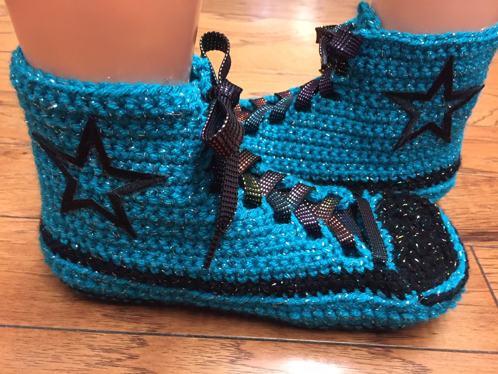 Converse inspired high top tennis shoes sneaker slippers converse converse slippers crocheted converse converse slippers crochet blue converse Womens 8-10 380 f69431