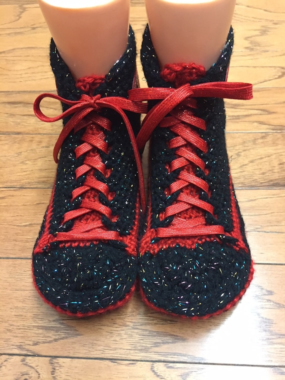 Womens sneakers tennis heart crocheted slippers sneakers shoes heart 8 shoes tennis 10 sneaker slippers crochet red high top Crocheted 395 pzqaZZ