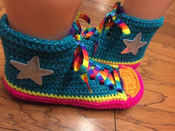 tennis converse top slippers converse rainbow 10 high Converse converse crocheted shoes sneaker inspired slippers slippers rainbow Womens 8 8FxFtqw