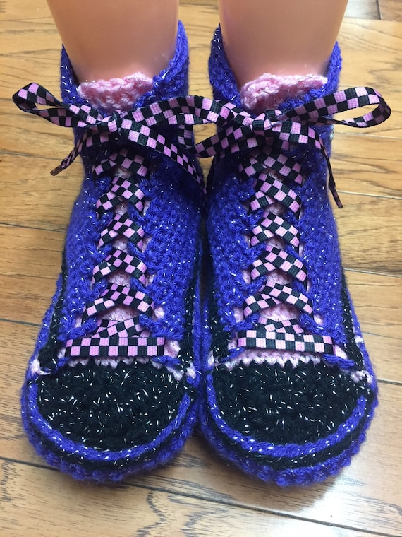 8 converse tennis shoe crocheted inspired top slippers crocheted Converse high pink 345 bling purple Womens sneaker 10 converse converse nxgqaXHw