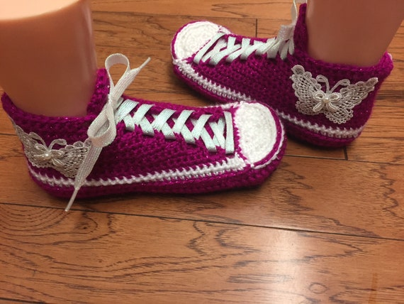 slippers slippers Crocheted pink sneakers 369 butterfly crochet shoes house tennis slippers butterfly Womens 8 6 shoes shoes tennis sneaker wftqXrtF