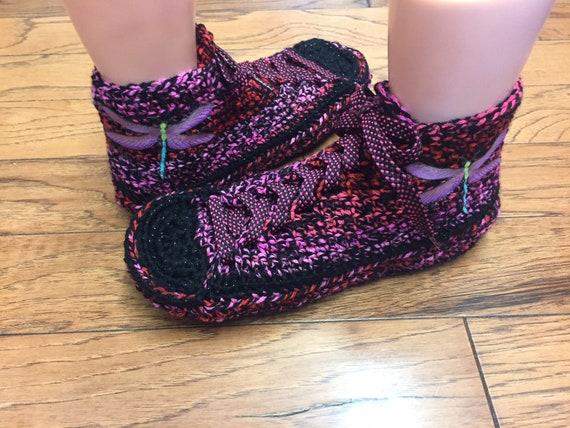 Chaussure baskets de chaussons libellule tennis noir pantoufles sneaker au rose pantoufles libellule crochet crochet SCSrn7wq
