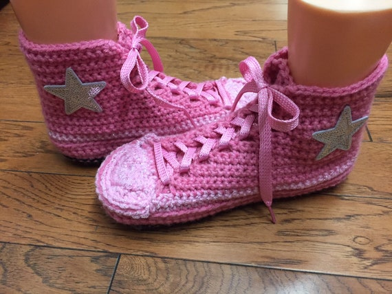 high sneaker Converse top converse converse crocheted bling pink Womens 410 tennis 8 converse slippers converse inspired shoes slippers 10 w5CqXFCB