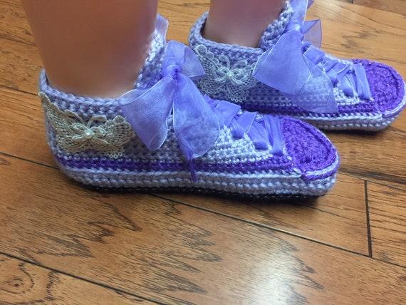 slippers crochet 8 sneaker tennis Listing crocheted shoes shoes 10 slippers butterfly Crocheted Womens slippers sneakers tennis 368 purple p7wqx8