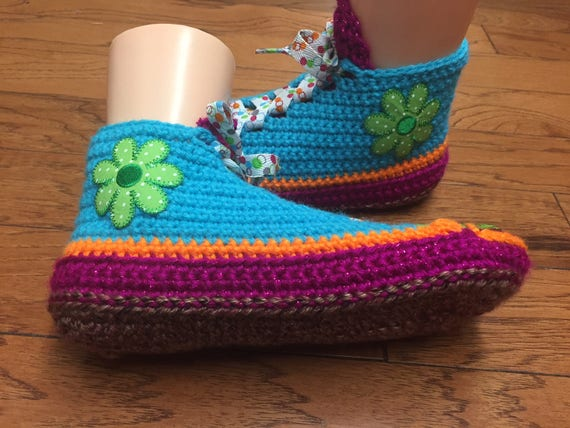 rainbow rainbow slippers sneakers slippers 211 Crocheted shoe Listing house 8 10 shoes Womens slippers flower daisy slippers sneaker tennis qwIFgxIRv