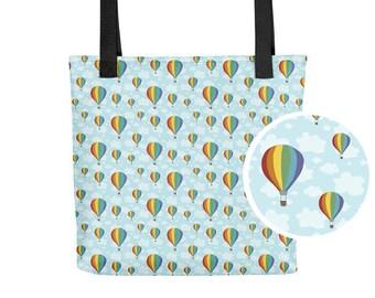 Cute Pattern Tote Bag Rainbow Hot Air Balloon Tote Bag Unique Gifts for Her Cute Gifts for Women Cute Handbags Balloon Print Handbag Tote
