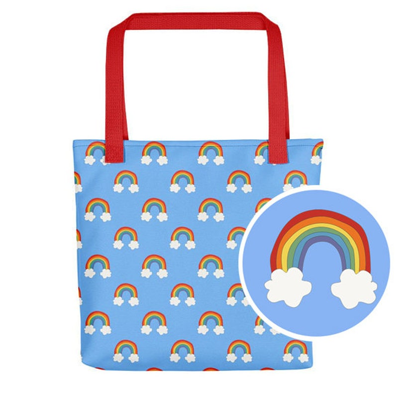 5b5f1f8d410d1 Rainbow torebka druk Rainbow torba na papierze niebieska torba
