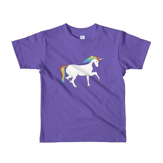 Nome Personalizzato Arcobaleno e unicorno Ragazzi Ragazze Bambini T Shirt Unisex