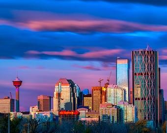 Calgary Waves / Pink Sunrise  / Wall art print / DIY decor / Instant Digital Download