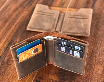 Personalized Leather Wallet, Leather Bifold Wallet, Distressed Leather Slim Bifold Wallet, Personalized Leather Wallet, Fathers Day Gift,