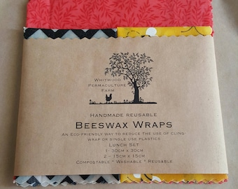 Beeswax Wraps, lunchset (Lucky Dip Fabric)