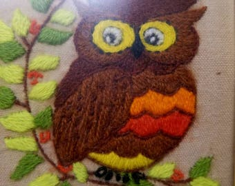 Vintage embroidered  owl picture.