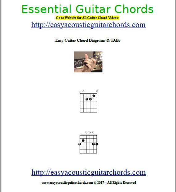 Essential Guitar Chords Diagrams & TAB How To Play Guitar