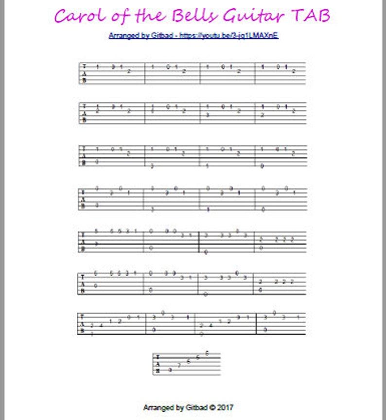 Carol of the Bells Guitar TAB  Printable PDF image 0