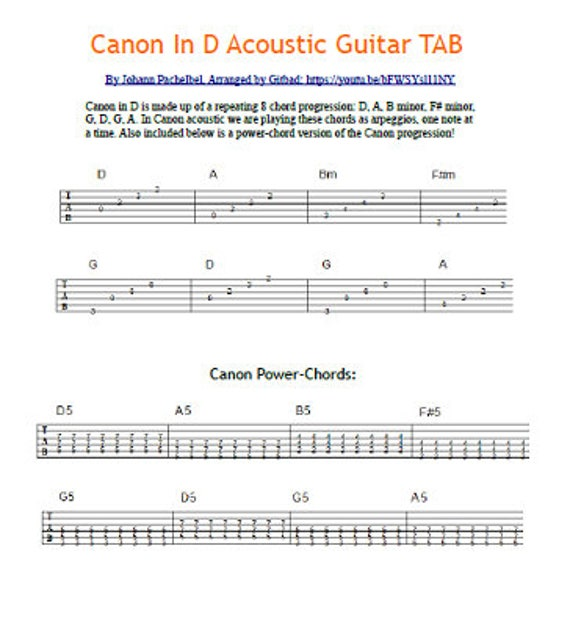 Canon in D Acoustic Guitar TAB | Etsy