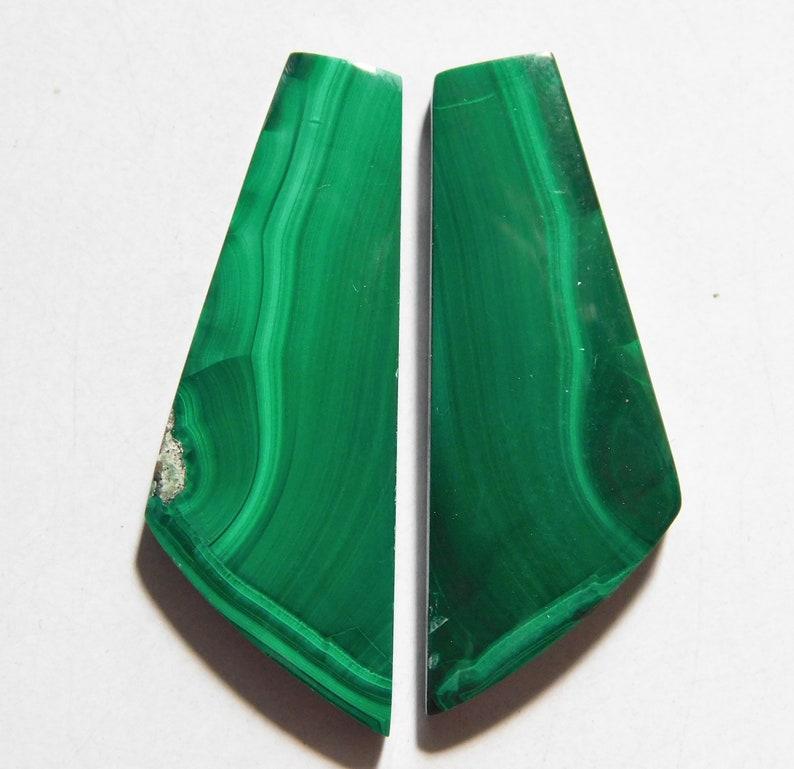 Cabochon Match Pair 37.7mm X 13.7mm each 50.20 Cts Natural Malachite