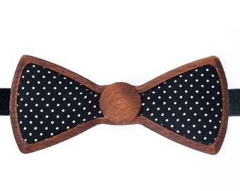 8464afb1056e Elegant Polka Dots Wooden Bowtie, handmade Wooden Bowtie Exotic Dots Black  - Giftbox - Gift Idea for Boy, Husband - Wedding Bowtie, Prom Tie