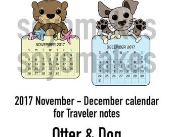 Nov-Dec 2017 calendar for TN - Otter & Dog