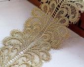 1 Yard Vintage Gold Metalic Gold Lace Trim, Gold Lace, Gold Scalloped Lace Trim ,Ribbon,Sewing Applique, Dress Edge